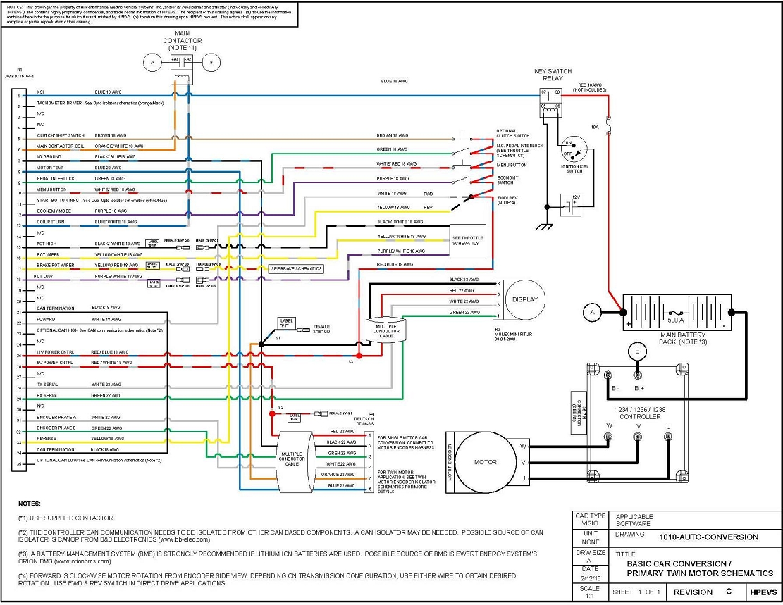 Automotive Electrical Wiring Diagram: EV Conversion Schematic,Design