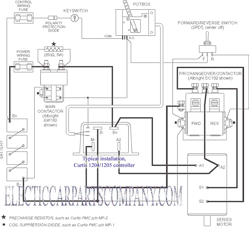 Curtis Br 2 Wire PB 6 Pot Box Throttle Br EV Controller  ponent p 241 on car ac schematic diagram