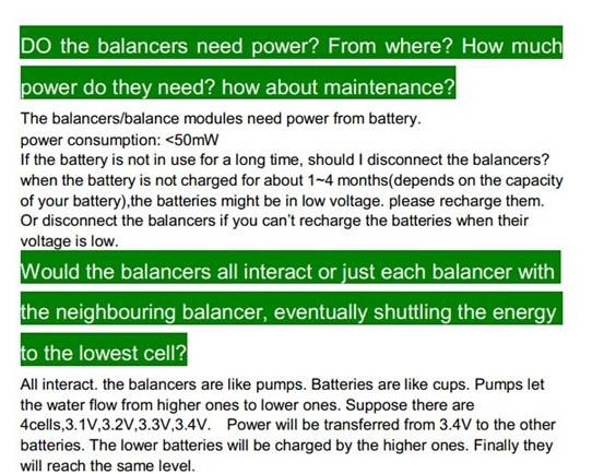 Questions and Answers - Specification of Battery Balancer