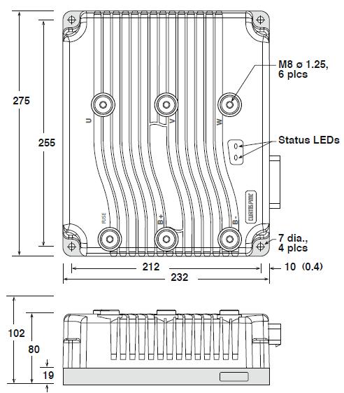 AC Motor Controller Curtis 1238E-6521 48V 80V 550A ... on 7 pin trailer connector diagram, curt plug diagram, curt 7 pin trailer wiring, curt towing wire diagram,