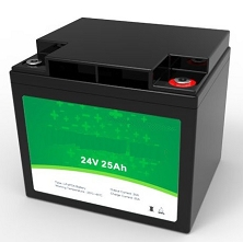 640 Watts 24V 25Ah <br> EV LiFePO4 Lithium Battery Pack <br> 7.7 * 6.5 * 6.9 in <br> 197 * 165 * 175 mm <br> 15.4 Lbs. / 7.0 Kg <br> Can be connected in series up to 48 volts.