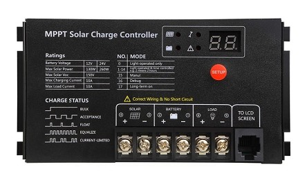 12V or 24V 10A MPPT <br> For Flooded, SLA, AGM, Gel, and Lead Acid Battery Packs <br> Solar Charge Controller