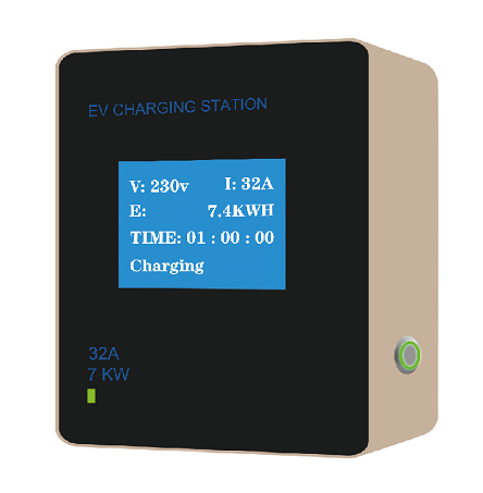 7kW AC SAE EV 32A Charging Station<br>With J1772 Plug and 16 Feet (5M) of Cable