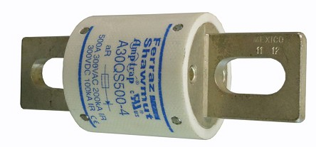 EV 300V, 500A Protection Fuse <br> 3.8(L) * 1.5(D) Inches <br> 9oz. / 255g <br> #A30QS500-4