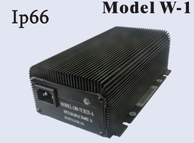 180-240 Watts 12V 15A, 24V 10A<br>Model W-1 Lithium or Lead-Acid Battery Charger