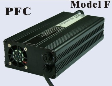 420 Watts <br> 24V 12A, 24V 15A, 36V 10A, <br> 48V 6A, 60V 5A, 72V 5A <br> Model F <br> Lithium or Lead-Acid Intelligent Battery Charger