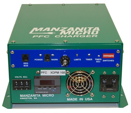 30A in-40A out, 12-450V DC <br> Manzanita Micro <br> PFC30XM <br> EV DC Lithium Battery Charger <br> 14L * 10.5W * 5.8H in <br> 358 * 264 * 145 mm <br> 17.2 Lbs. / 7.8 Kg